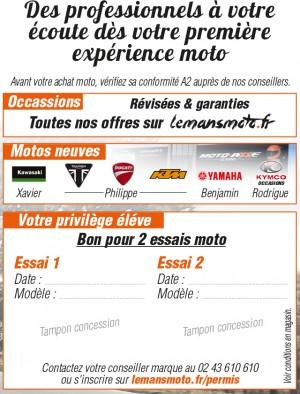 INSCRIPTION POUR 1 A 2 ESSAIS MOTO PRIVILEGES