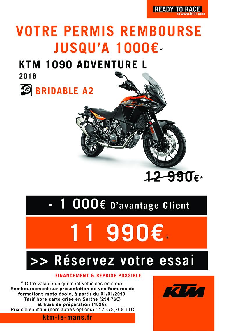 OFFRE KTM 1090 ADVENTURE L, PERMIS REMBOURSE*