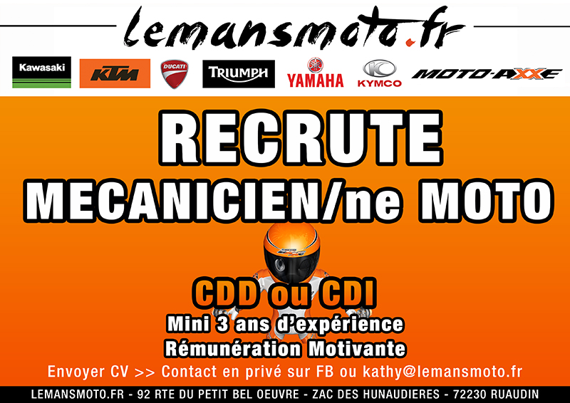 LEMANSMOTO RECRUTE 1 MECANICIEN